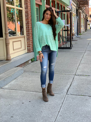 Mint High Low Sweater