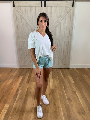 Mint Rolled Up Shorts