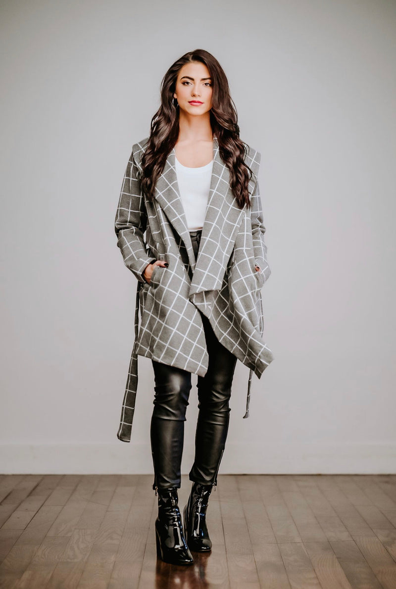 Gray Plaid Wrap Coat