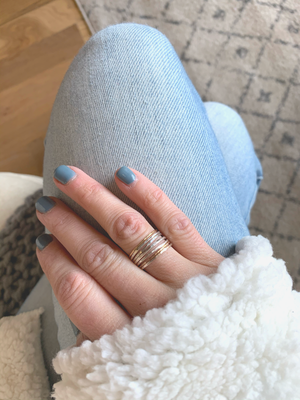 Thin Hammered Stacking Ring Set