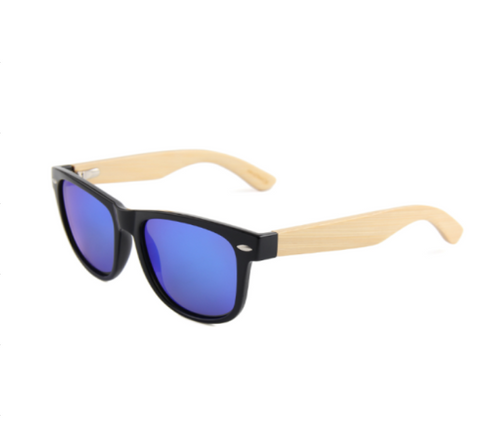 Wooden Sunglasses Blue Lens