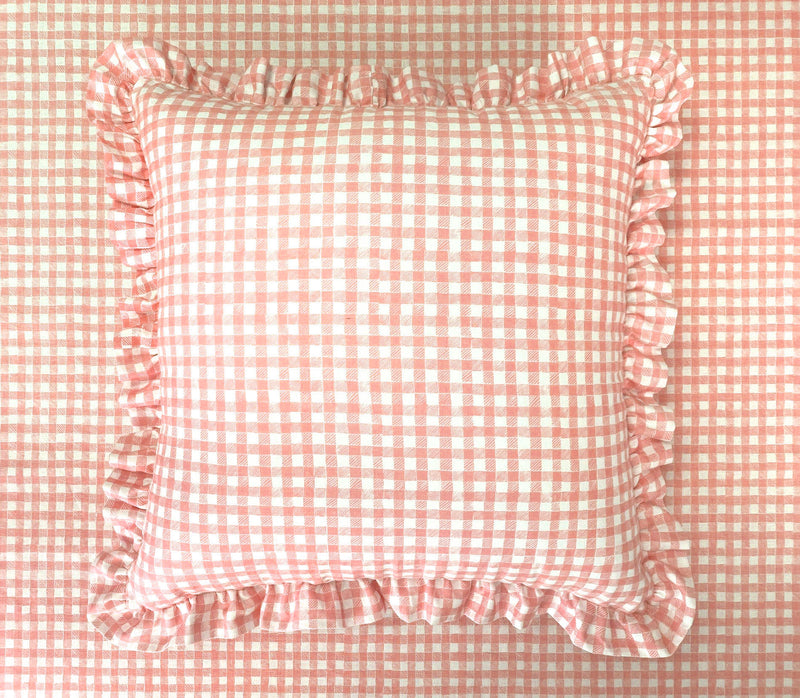 Ruffle Floor Cushion Gingham Pink