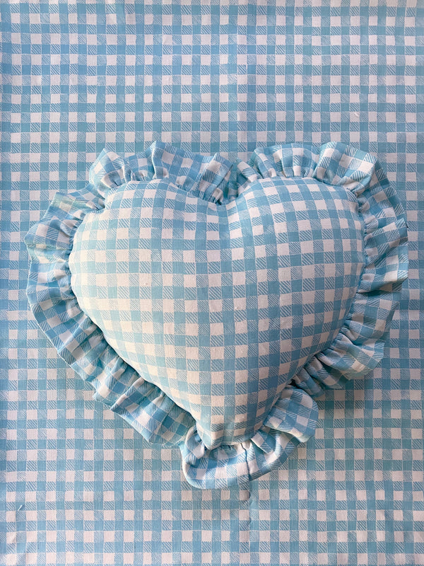 Ruffle Heart Pillow Gingham Light Blue