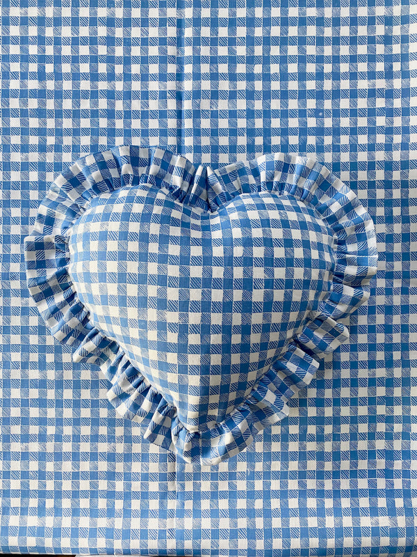 Ruffle Heart Pillow Gingham Blue