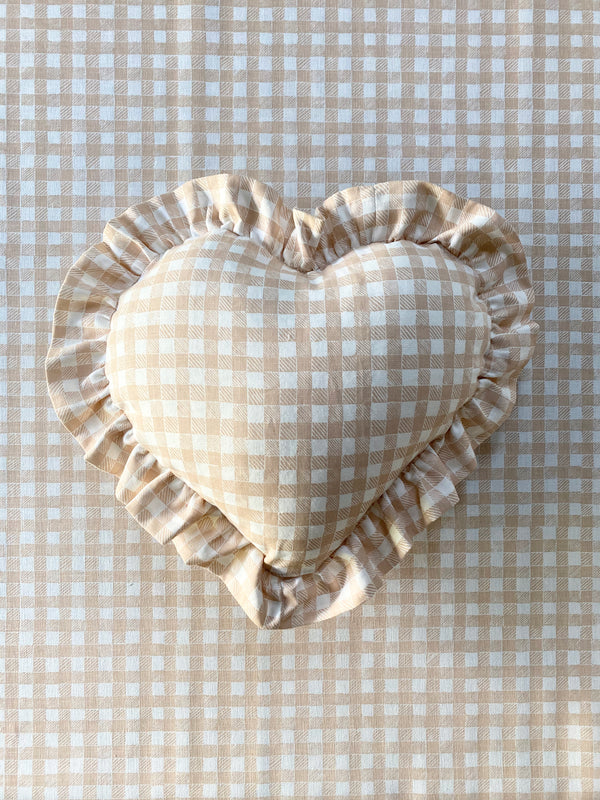 Ruffle Heart Pillow Gingham Beige