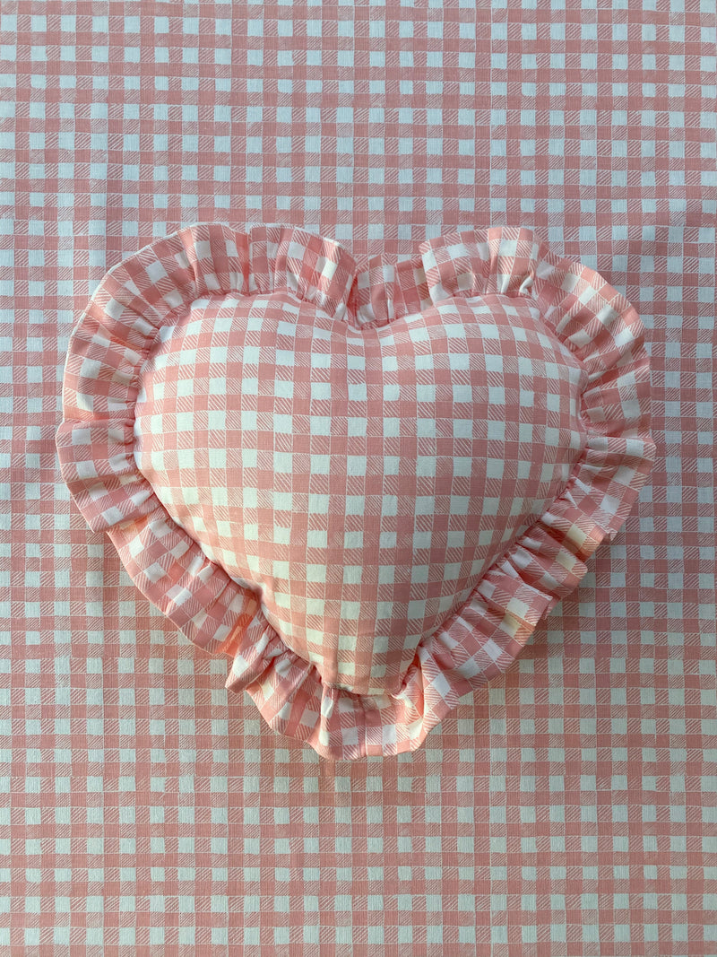 Ruffle Heart Gingham Pillow Pink