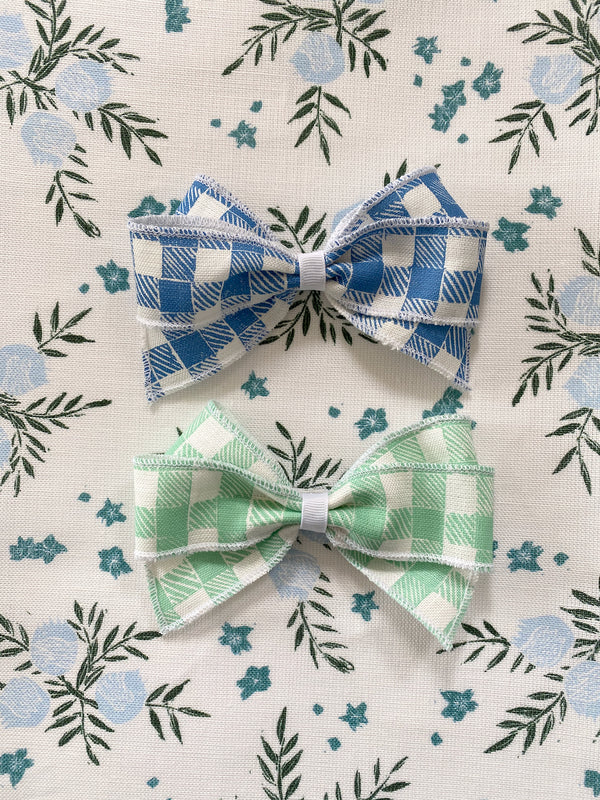 Linen Hair Bow Gingham Green