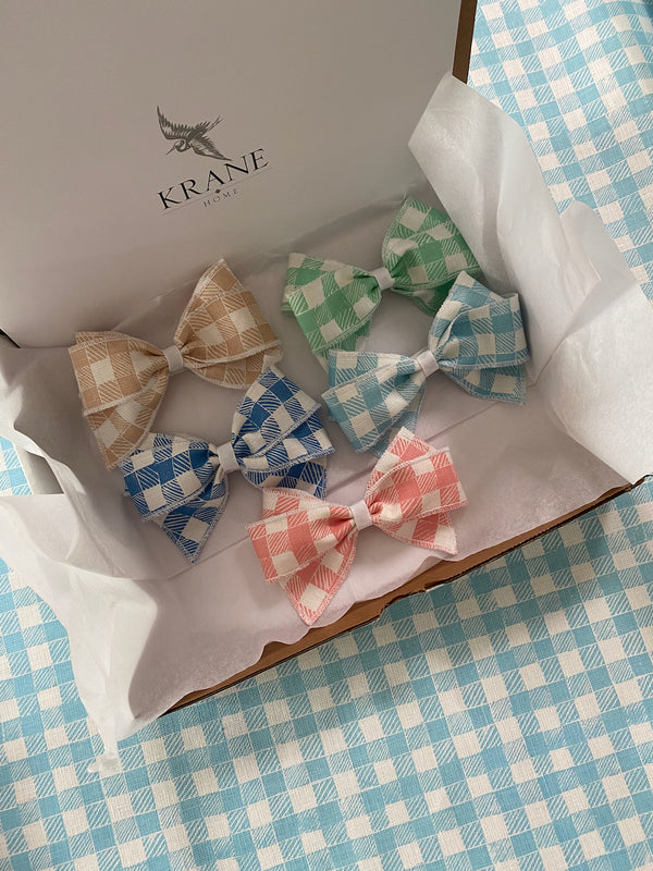 Linen Hair Bow Gingham Light Blue