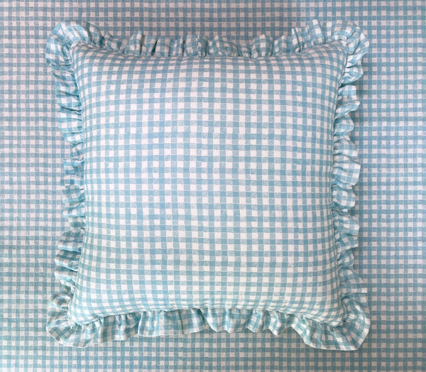 Ruffle Floor Cushion Gingham Light Blue