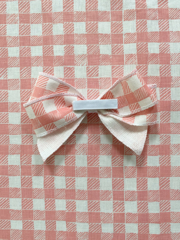 Linen Hair Bow Gingham Pink