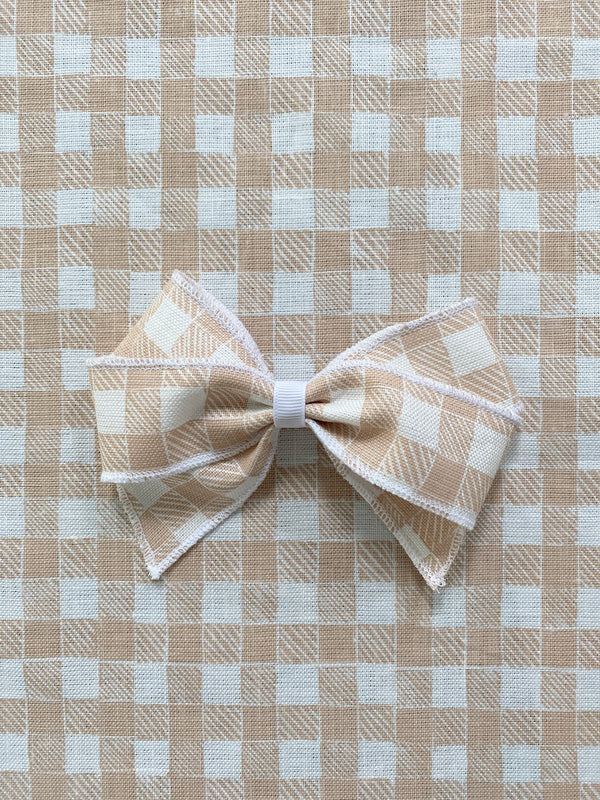 Linen Hair Bow Gingham Beige