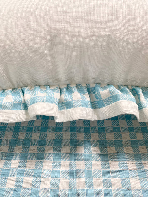 Ruffle Euro Pillow White and Gingham Light Blue