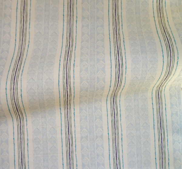 Block Print Stripe Grasscloth Wallpaper in Blueberry