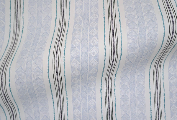 Block Print Stripe Wallpaper in Blueberry