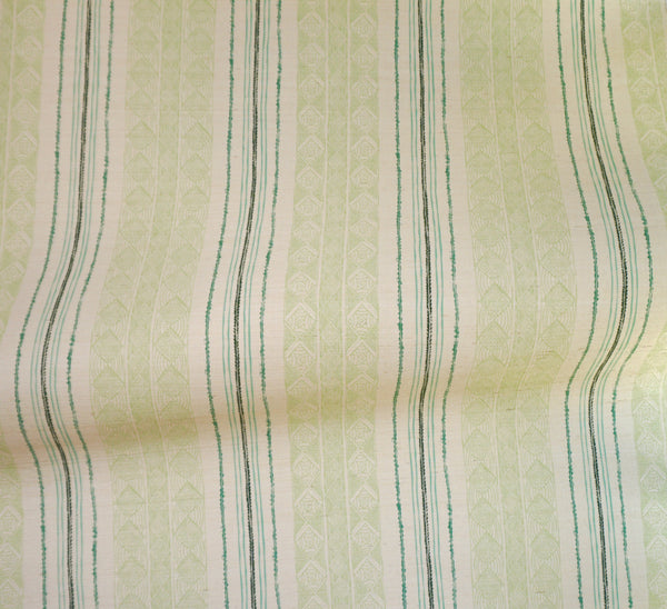 Block Print Stripe Grasscloth Wallpaper in Celery