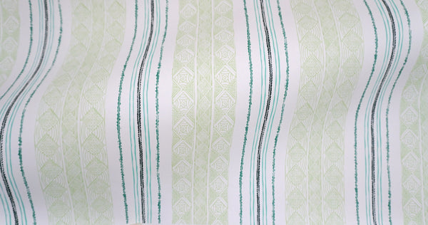 Block Print Stripe Wallpaper in Celery