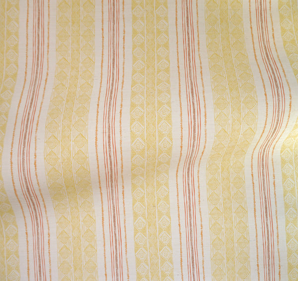 Block Print Stripe Grasscloth Wallpaper in Saffron