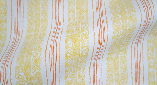 Block Print Stripe Wallpaper in Saffron