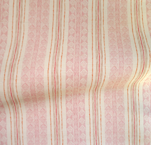 Block Print Stripe Grasscloth Wallpaper in Strawberry