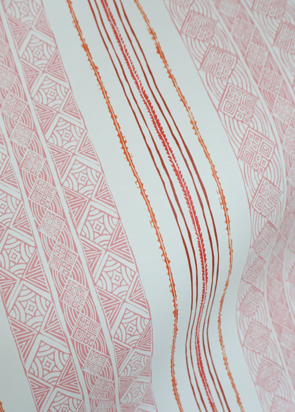 Block Print Stripe Wallpaper in Strawberry