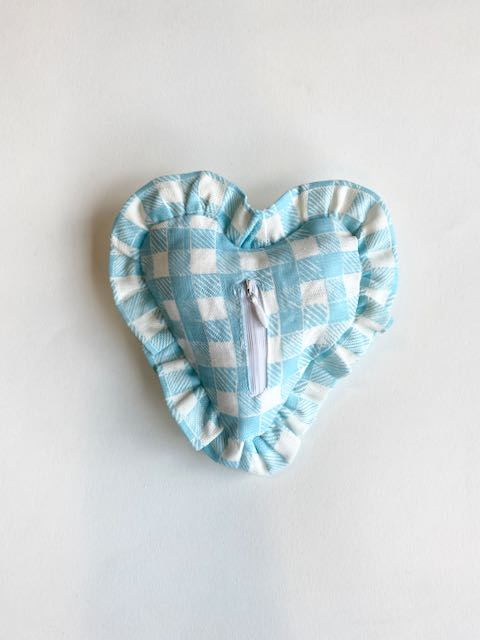 Ruffle Heart Lavender Sachet Gingham Light Blue
