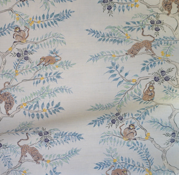 Monkey and Tiger Grasscloth Wallpaper in Dusk