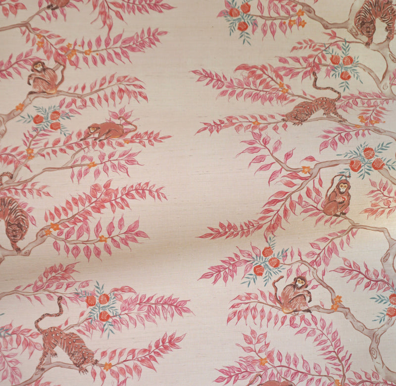 Monkey and Tiger Grasscloth Wallpaper in Dawn