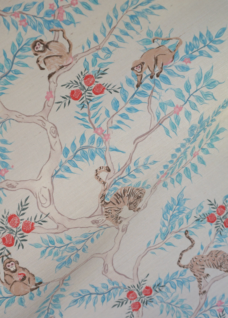 Monkey and Tiger Grasscloth Wallpaper in Day