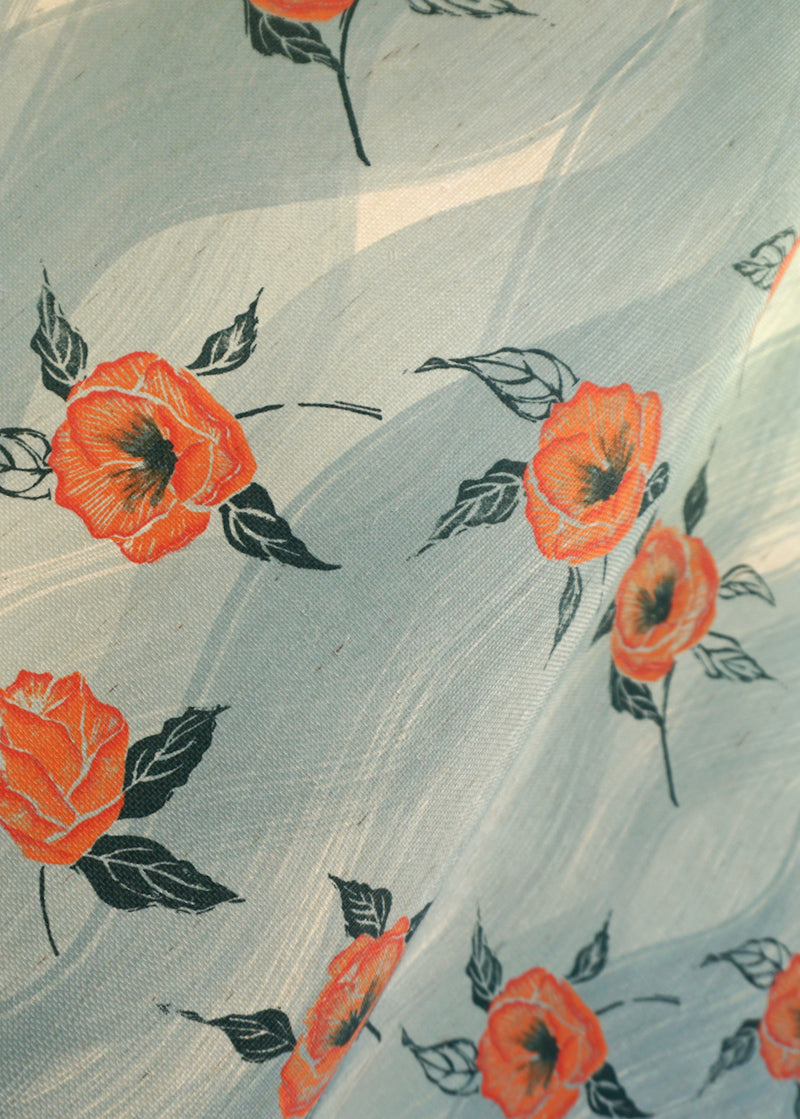 Painted Poppy Grasscloth Wallpaper in Celadon