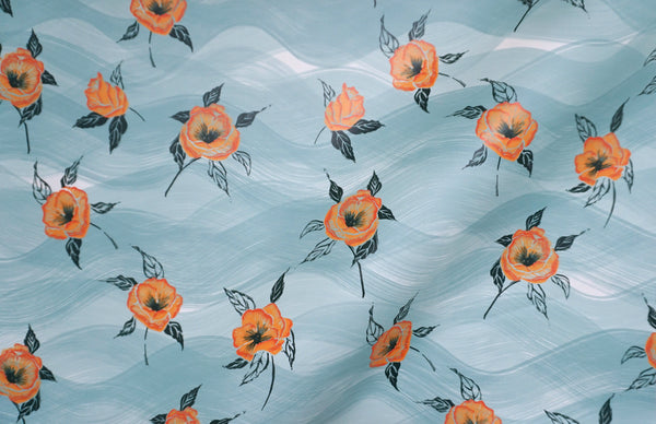 Painted Poppy Wallpaper in Celadon