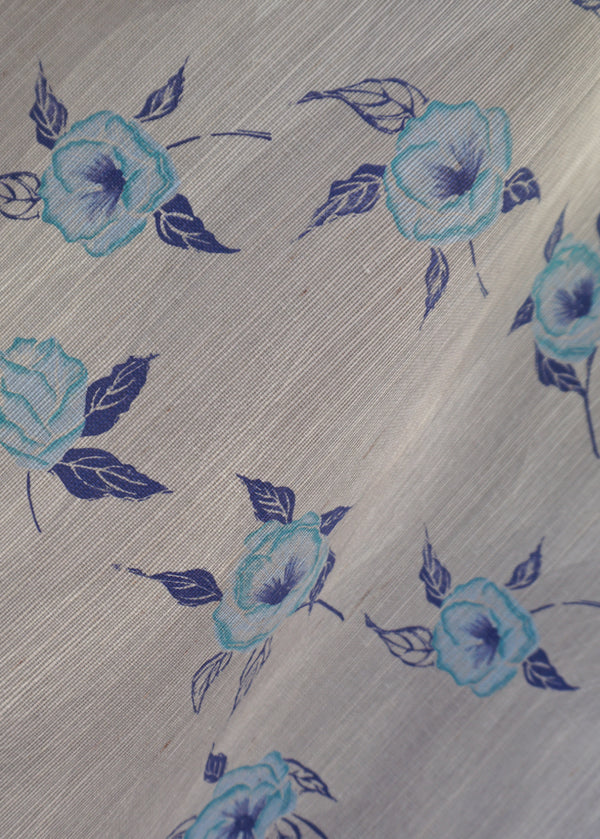 Painted Poppy Grasscloth Wallpaper in French Blue
