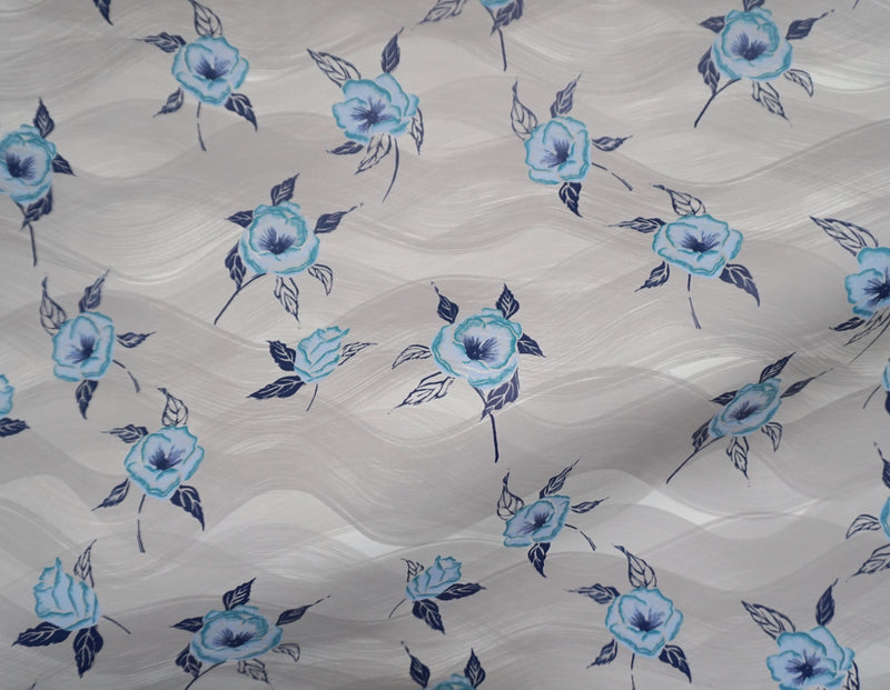 Painted Poppy Wallpaper in French Blue