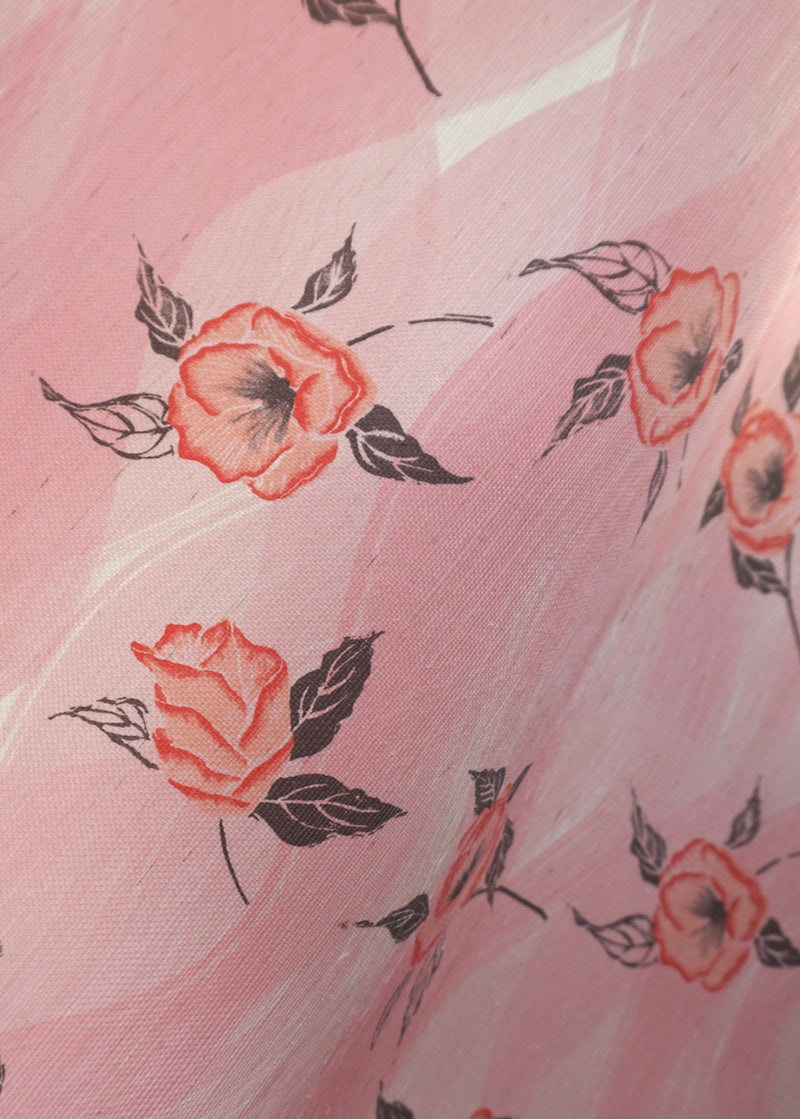 Painted Poppy Grasscloth Wallpaper in Strawberry