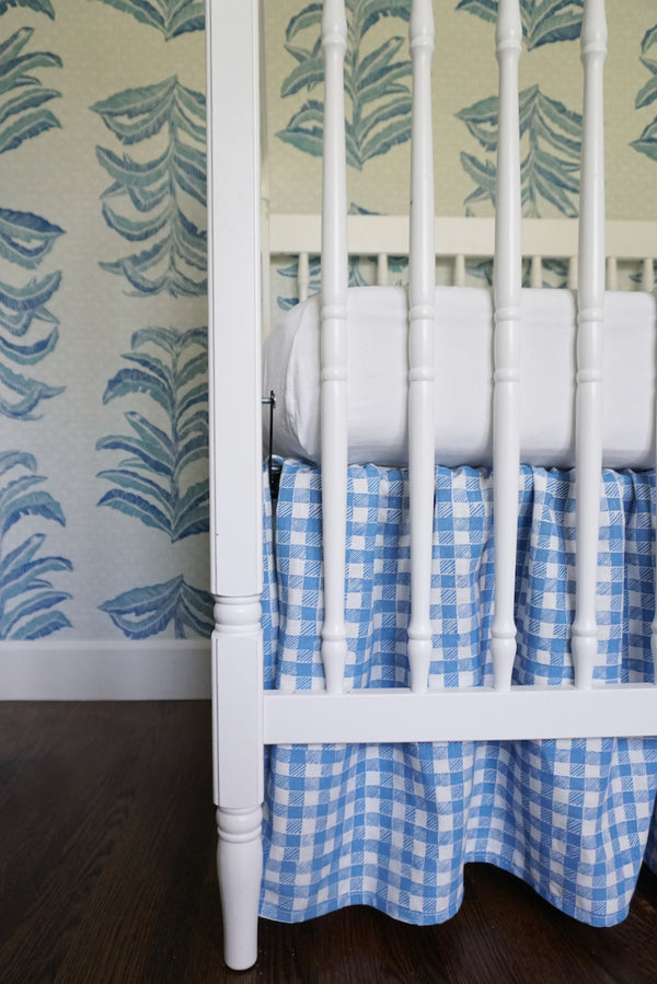 Ruffle Crib Skirt Gingham Blue