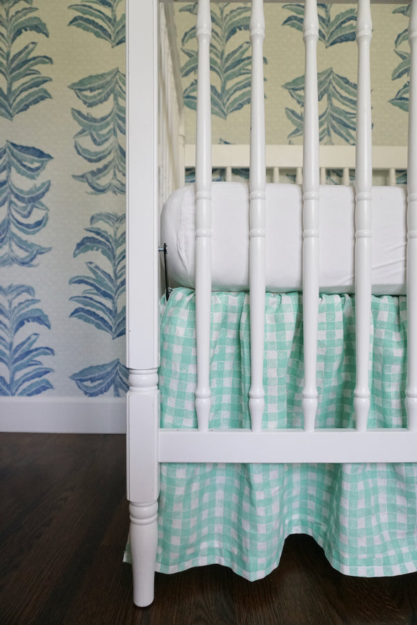 Ruffle Crib Skirt Gingham Green
