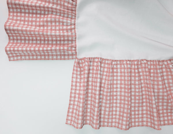 Ruffle Crib Skirt Gingham Pink