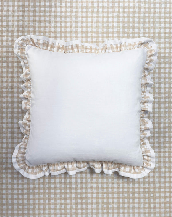 Ruffle Euro Pillow White and Gingham Beige