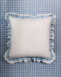 Ruffle Euro Pillow White and Gingham Blue