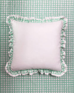 Ruffle Euro Pillow White and Gingham Green
