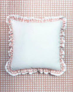 Ruffle Euro Pillow White and Gingham Pink