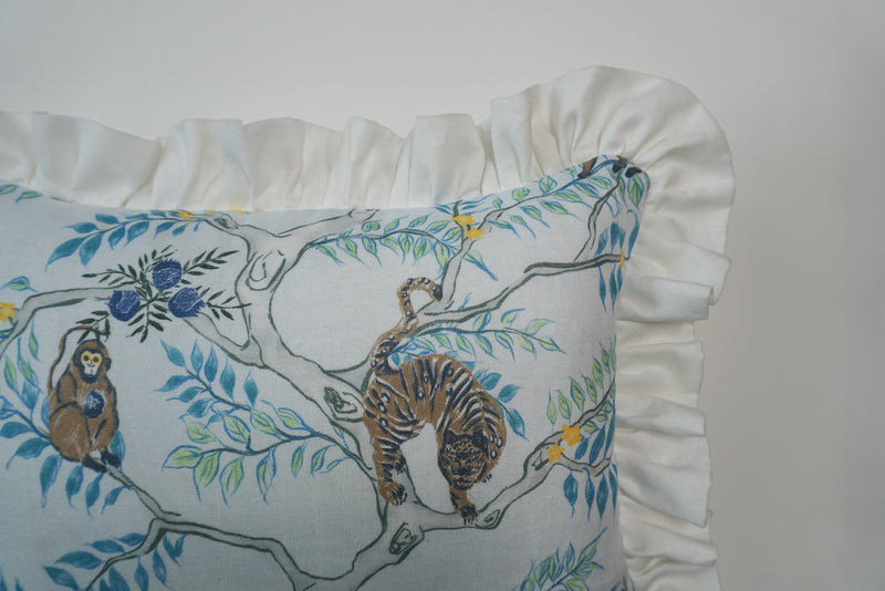 Ruffle Lumbar Pillow Monkey and Tiger Dusk