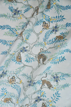Monkey and Tiger Fabric in Dusk