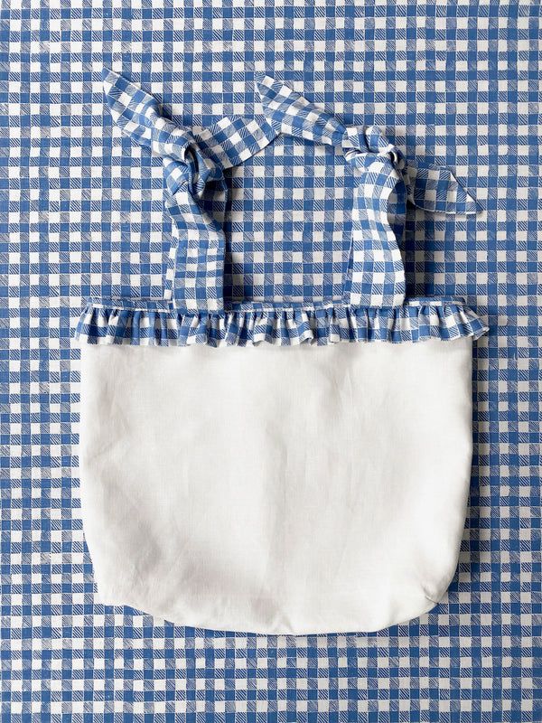 Ruffle Nursery Sack Gingham Blue