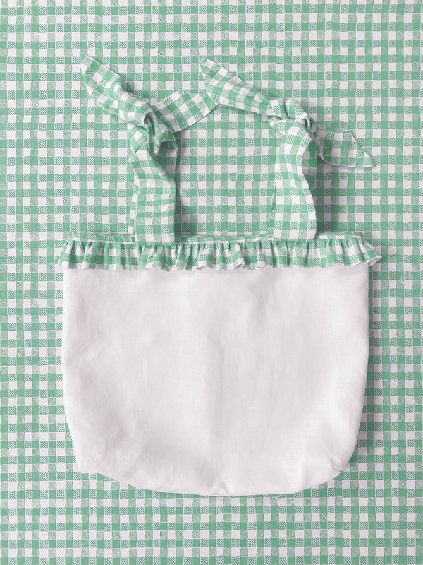 Ruffle Nursery Sack Gingham Green
