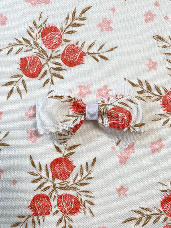 Linen Hair Bow Pomegranate Strawberry