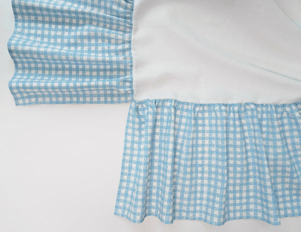 Ruffle Crib Skirt Gingham Light Blue