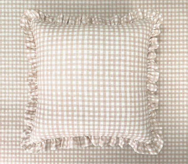 Ruffle Floor Cushion Gingham Beige