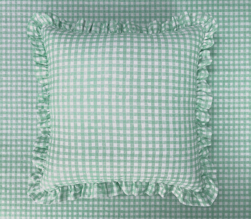 Ruffle Floor Cushion Gingham Green