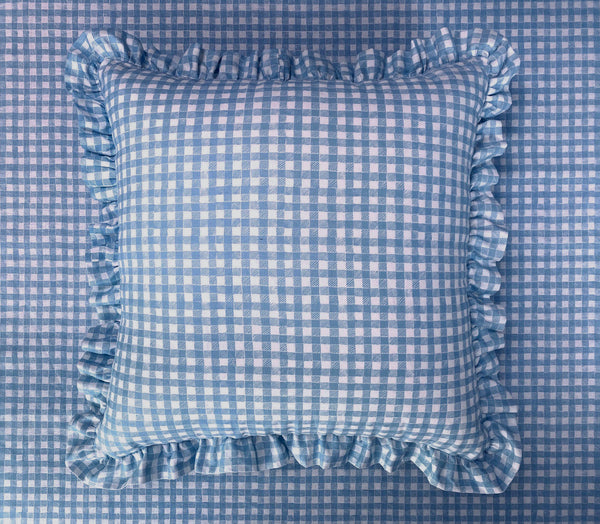Ruffle Floor Cushion Gingham Blue