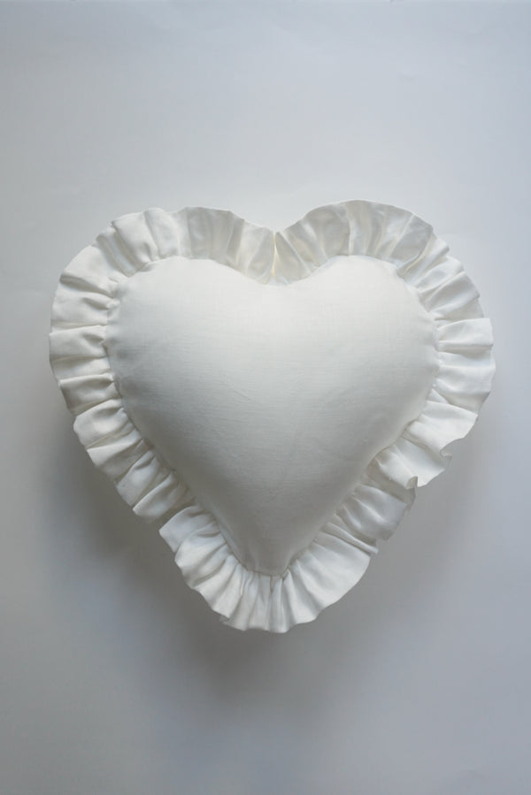 Ruffle Heart Pillow Woven Herringbone White